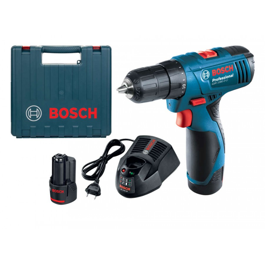 bosch gsr 1080 2 li cordless drill driver with 2 batteries. Black Bedroom Furniture Sets. Home Design Ideas