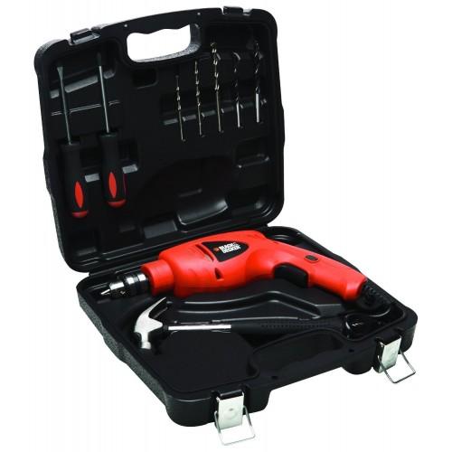 Black Decker HD5010VK9-IN 10mm impact drill 500w with 9pcs kit